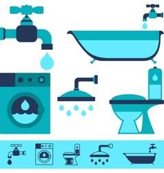 Plumbing equipment icons in flat design style vector