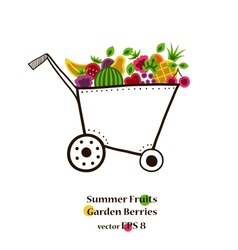 Garden cart with bright fruits and berries vector