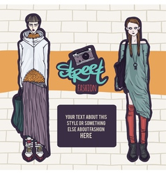 Double street fashion look vector
