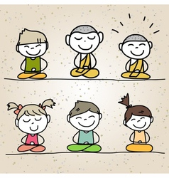Hand drawing cartoon happy life meditation vector