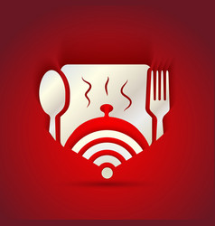 Icon concept for restaurant menu and free wifi vector