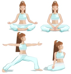 Set girl yoga pose vector