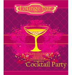 Cocktail party invitation card vector