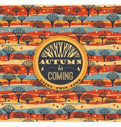 Autumn pattern with typography vector