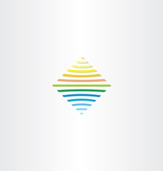 Sun and water line square logo vector