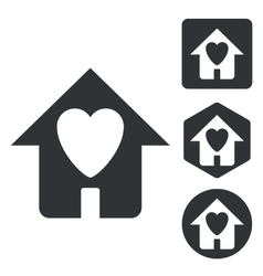 Love house icon set monochrome vector