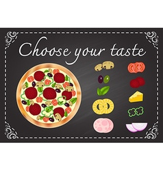 Pizza with ingredients on chalkboard vector