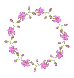 Floral romantic round frame vector