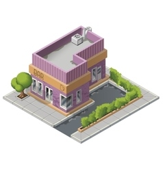 Isometric bar building icon vector