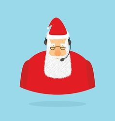 Christmas call center santa claus and headset vector