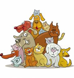 group of cats and dogs vector image