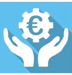 Euro maintenance long shadow square icon vector