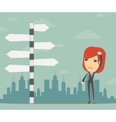 Businesswoman in front of a choice vector