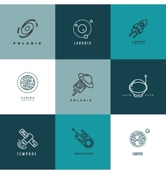 Universe astronomy thin line icons and vector