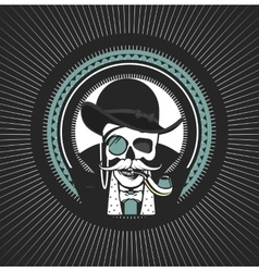 Private investigator skull vector