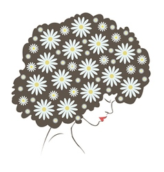 Abstract tender flowers hair - vector