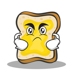 Angry face bread character cartoon vector