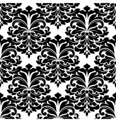 Black and white damask seamless pattern vector