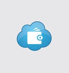 Blue cloud wallet icon vector
