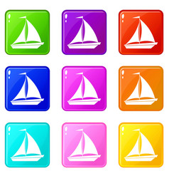 Boat with sails icons 9 set vector