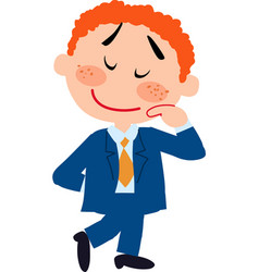 Boy dressed like a businessman shy vector
