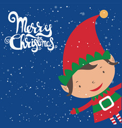 Cartoon for holiday theme with elf on winter backg vector