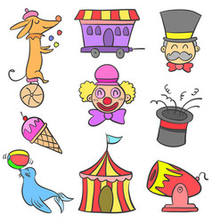 Circus element various doodle set vector