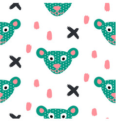 Cute bear green fun seamless pattern for kids and vector