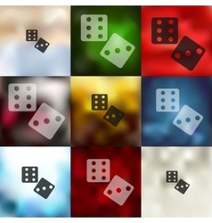 Dice icon on blurred background vector