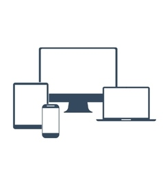 Electronic devices with white blank screens vector image