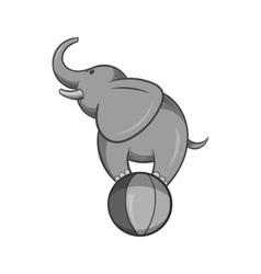 Elephant on the ball icon black monochrome style vector image