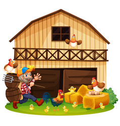 Farmer and chickens in the farm vector