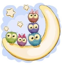 Five Cute Owls vector image vector image