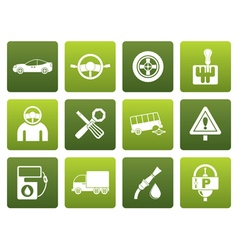 Flat car services and transportation icons vector image