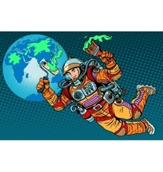 green Earth day ecology astronaut vector image vector image