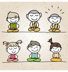 Hand drawing cartoon happy life meditation vector