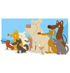happy sitting dogs group cartoon vector image vector image