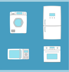 Household appliances washing machine oven vector