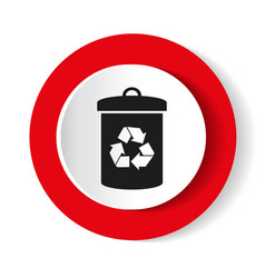 litter sign white icon in the red vector image