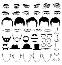 Man face eyes and noses mustaches with glasses vector