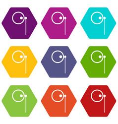 Monocle icon set color hexahedron vector