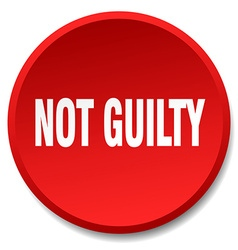 Not guilty red round flat isolated push button vector