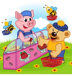 Pig seller of cakes vector