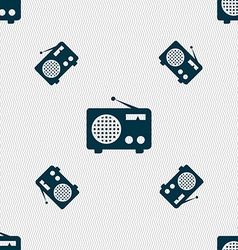 Retro radio icon sign Seamless pattern with vector image