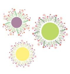 Round floral frames set vector image