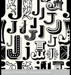 seamless vintage pattern letter J vector image vector image
