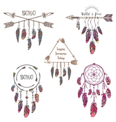 Set of boho style design for t-shirt vector
