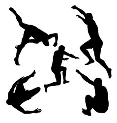 silhouettes of men jumping vector image vector image