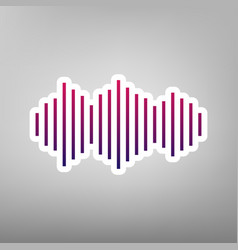 Sound waves icon purple gradient icon on vector
