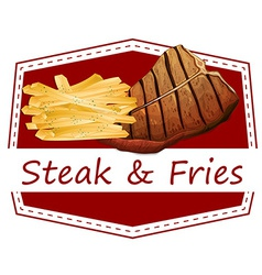 Steak and fries label vector